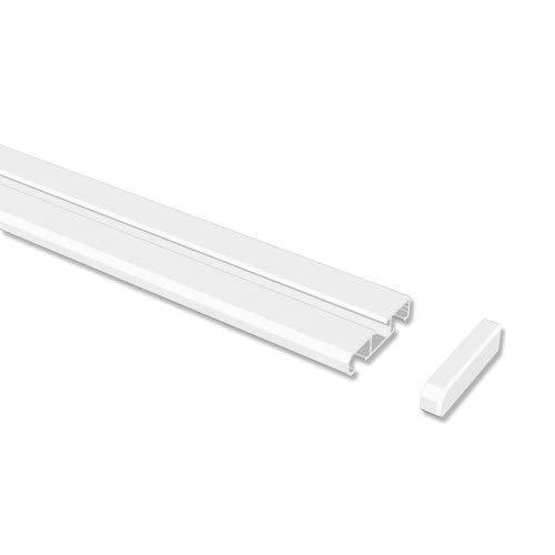 INTERDECO Gardinenschienen Weiß 1-/2-läufige Vorhangschienen aus Aluminium, Slimline, 160 cm