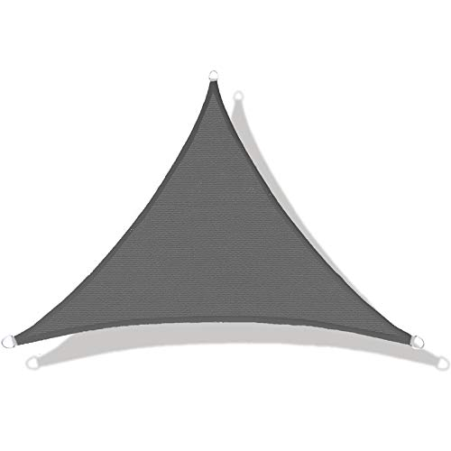 LOVE STORY Voile d'ombrage (HDPE) Triangulaire 3 x 3 x 4.25m Anthracite Protection des Rayons UV pour Terrasse Camping Extérieur Jardin