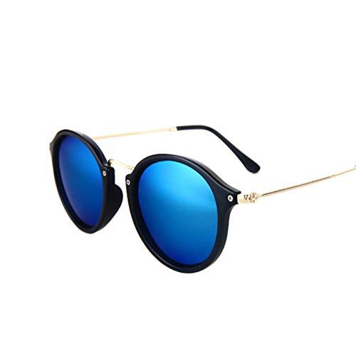 QYV Gafas de Sol de Espejo Redondas de Lujo para Mujer, Gafas de Sol Retro, Gafas de Sol ovaladas Vintage para Mujer,Blue