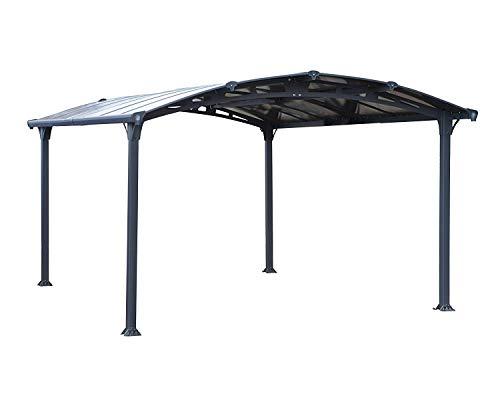 Palram Arcadia 4300 Carport Aluminium & Verzinkter Stahl 4,3x3,5m, Überdachung, Autogarage, Autounterstand, Einfache Montage, Carport Bausatz, 10 Jahre Garantie, Anthrazit Inkl. Regenrinne
