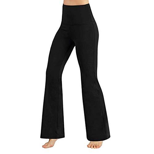 Sunnyuk Pantaloni da Yoga da Donna A Vita Alta Allenamento di Controllo della Pancia Leggings Pantaloni A Zampa Pantaloni da Yoga A Gamba Larga (XS, Nero)