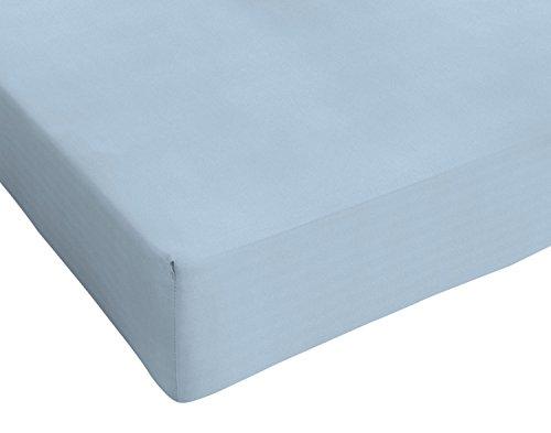 Italian Bed Linen Max Color Lenzuolo sotto Singolo, 100% Cotone, Azzurro, 90 x 200 cm