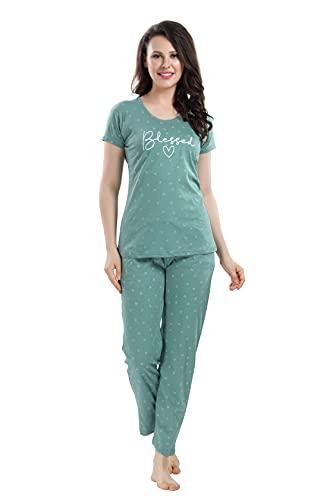 DZZO Women's Printed Cotton Night Suit Set/Pyjama Set/Sleepwear/Nightwear/Nightdress/Loungewear (X-Large, Mint...