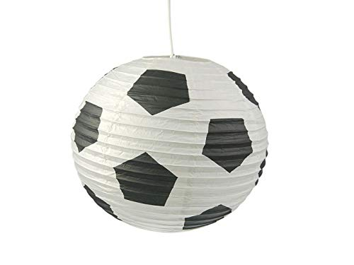 Lampe en papier pour chambre d'enfant avec LED à intensité variable - Abat-jour motif football - Suspension avec suspension.