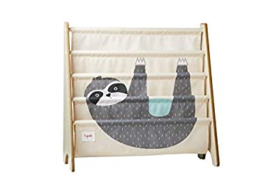 3 Sprouts Book Rack – Kids Storage Shelf Organizer Baby Room Bookcase Furniture, Sloth
