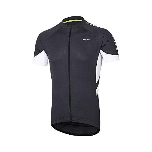 ARSUXEO Maglietta da ciclismo da uomo a maniche corte in jersey per mountain bike, 636, Grigio scuro, XL