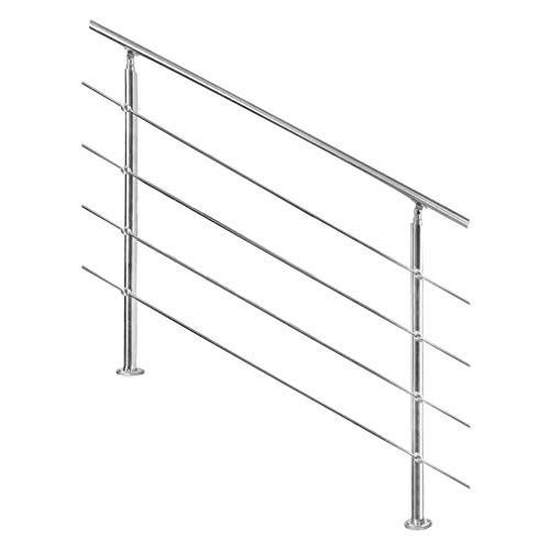 XCJJ Edelstahl-Treppenhandlauf, Für Innen-Außen-Balkon, 4 Querstange, 2 Pfosten, Mit Montagesatz,100Cm