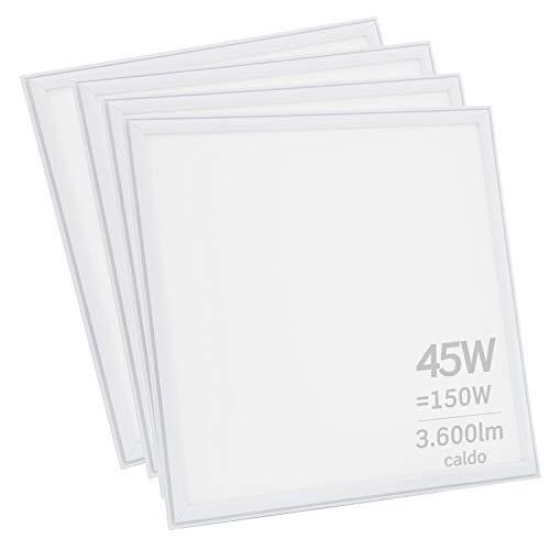 4x Pannelli LED 45W 60x60cm 3600 lumen - Luce Bianco Caldo 3000K - Fascio Luminoso 120°