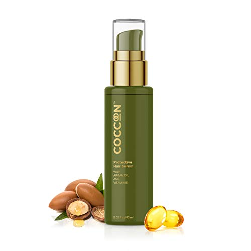 Coccoon Protective Hair Serum for Women & Men| All Hair Types including Dry Hair| Contains Natural Active Extracts -Argan Oil & Vitamin E| Instant Shine & Smoothness| Regular Use Hair Serum For Dry & Wet Hair| Gives Frizz-Free Hair| Soft & Silky Touch| 60ml