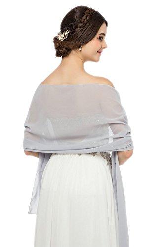JAEDEN Stola Chiffon Schal für Brautkleid Abendkleider Ballkleider Hochzeitskleider in verschiedenen Farben 45cmx220cm Light Grey