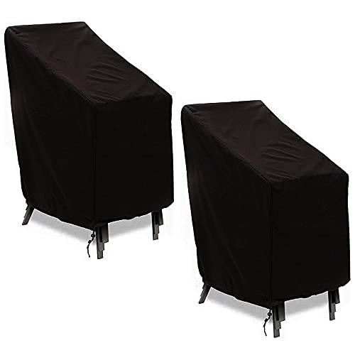 WTOKL Funda para Silla de Patio apilable, 210D Durable/Impermeable/A Prueba de Polvo Fundas para sillas de jardín para Exteriores con cordón de Dobladillo Ajustable