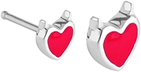 Red Devil Heart w/ horns nose bone Ring piercing bar ring body jewelry 20g 20 gauge
