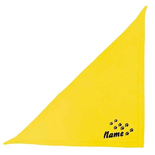 Schecker gelb 65 cm Besticktes Halstuch mit Pfoten - Pfotenspur und Hundename –hochwertig –waschbar - individuelles Geschenk für Ihren Hund
