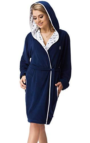 DOROTA trendiger und gemütlicher Damen Baumwoll-Bademantel mit Kapuze und Jackentaschen, made in EU, dunkelblau-Anker, Gr. XL