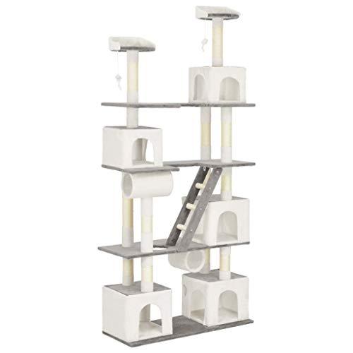 vidaXL Kratzbaum mit Sisal-Kratzsäulen Häusern Spielzeugen Katzenbaum Katzenkratzbaum Kletterbaum Spielbaum für Katzen Plüschstoff Weiß 100x40x225cm