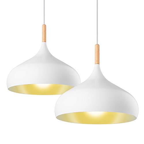 LSX Licht 2X Pendelleuchte Retro Hängeleuchte Hängelampe Metall Ø 22cm exkl. E27 max. 60W Leuchtmittel Weiß Matt, Metallschirm [Energieklasse A++]