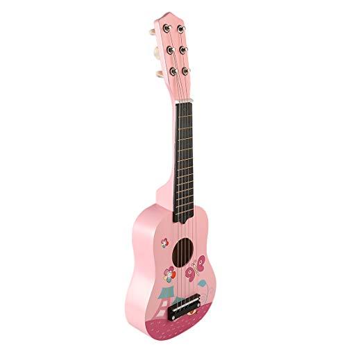 YAKOK Madera Guitarra Niño 6 Cuerdas 21'' Guitarra Juguete para Niños y Niñas 3-7 años (Rosa)