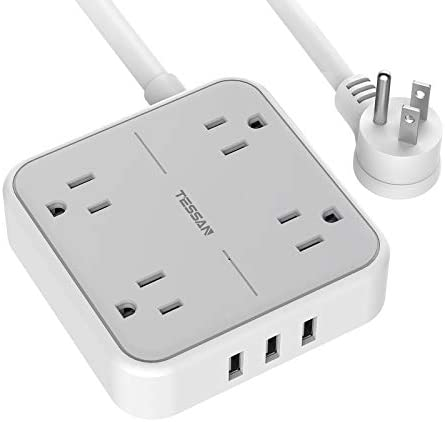 Power Strip with USB TESSAN Mountable Flat Plug Extension Cord with 4 Widely Spaced Outlets product image