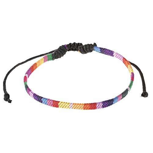 Tobillera para mujer, tobillera para hombre, de seis colores, con diseño de arco iris, trenzado, para surfista