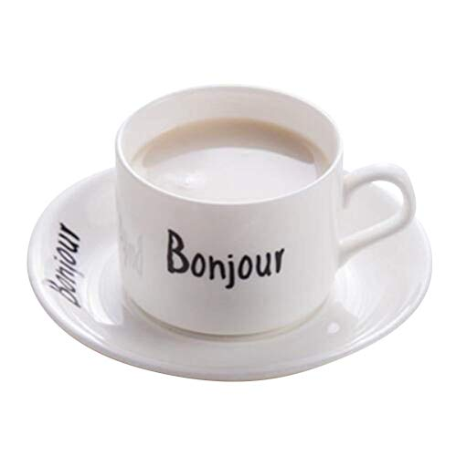 YBK Tech Novelty French Words Euro Style Cup& Saucer Set Ceramic Tea Cup Coffee Mug for Breakfast Home Kitchen (Bonjour)
