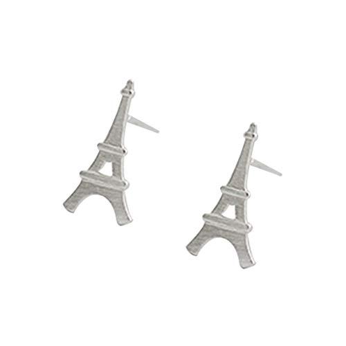 Pendientes de tuerca en forma de torre Eiffel de plata Pendientes con pendientes pequeños para mujeres niñas