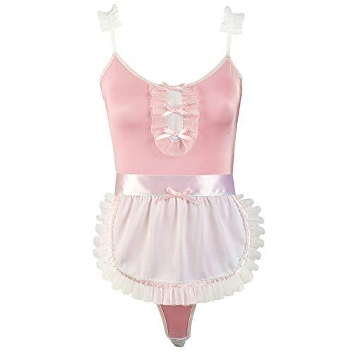 Pink Uniformen Maids Leuke Speels Sexy Onesies Met Schorten Verstoorde Riemen Rokken Rosette ZHQHYQHHX (Color : Pink, Size : One size)