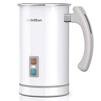 HadinEEon Milk Frother Stainless Steel 16.9oz/3.4oz Electric Milk Steamer Hot and Cold Foam Maker and Milk Warmer for Latte Cappuccinos Macchiato Hot Chocolate Milk 650W 120V White
