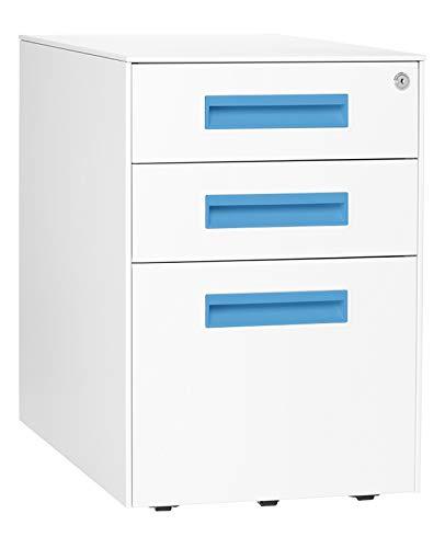 Stockpile Square Mobile 3-Drawer File Cabinet (White)