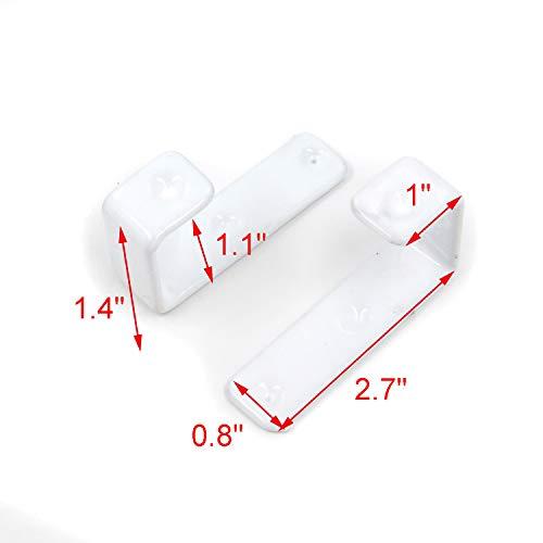 Geesatis Hook Hardware 2 PCS Bed Ladder Hooks Utility Hooks Bunk Bed Ladder Hook Unique Design Heavy Duty Hook Brackets for Bed Decoration Tool, with Mounting Screws, White, Inner Length: 28mm