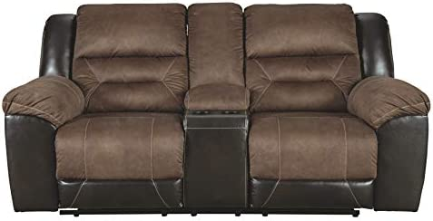 Best Signature Design by Ashley Earhart Double Reclining Loveseat with Console Chestnut