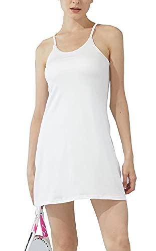 JEGGE Damen ärmelloses Gymnastik-Tenniskleid mit integriertem BH und Shorts, Golf Workout Athletic Kleider Taschen Gr. X-Large, weiß