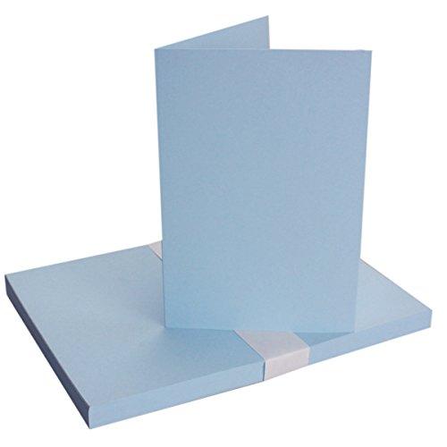DIN A5 Falt-Karten - Hellblau - 25 Stück - Einladungskarten - Menükarten - Kirchenheft - Blanko - 14,8 x 21 cm - Marke FarbenFroh® by Gustav Neuser