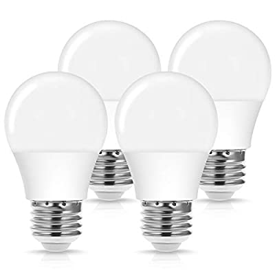 JandCase 4W LED Light Bulb, A15 40W Equivalent Bulb, Daylight White 5000K, E26 Medium Base, Home/Office Decor, Ceiling Fans/Refrigerator Bulb, 400LM, Not Dimmable, 4 Pack