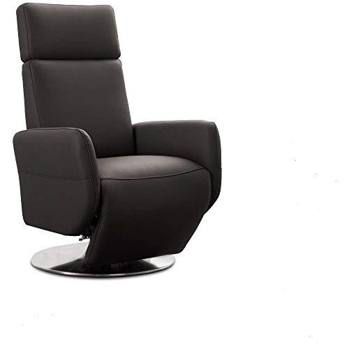 Cavadore TV-Sessel Cobra / Fernsehsessel mit Liegefunktion, Relaxfunktion / Stufenlos verstellbar / Ergonomie L / Belastbar bis 130 kg / 71 x 112 x 82 / Echtleder Mokka