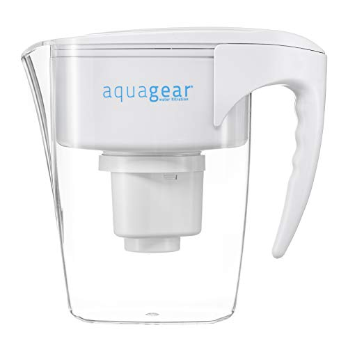 Aquagear Water Filter Pitcher - Fluoride, Lead, Chloramine, Chromium-6 Filter - BPA-Free, Clear