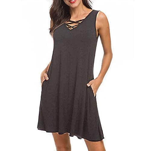 Moda damska Seksowna bez rękawów, dekolt w szpic, sukienka z paskiem Klasyczny Vintage Jednolity kolor Casual All Match Sukienka o średniej długościS