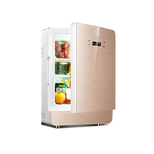 20L Auto Kühlschrank, tragbar und leise | AC + DC Stromversorgung Kompatibilität, Heiz- und Kühlfunktion, LCD-Intelligenter Betrieb, (330 * 275 * 430mm) Gold