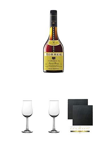 Torres 10 Jahre Brandy Gran Reserva spanischer Brandy 0,7 Liter + 2 Bugatti Nosing Gläser mit Eichstrich 2cl und 4cl + 2 Schiefer Glasuntersetzer eckig ca. 9,5 cm Ø