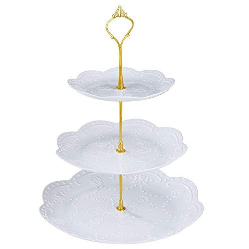 Comius Sharp Soporte para Tartasde 2/3 Pisos, Bandeja de Tartas Desmontable Plato de Frutos Postre para Boda Fiesta Tarde Cumpleaños(Round)