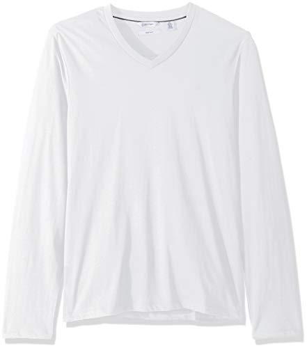 Calvin Klein Men's Long Sleeve V-Neck T-Shirt, White, Medium