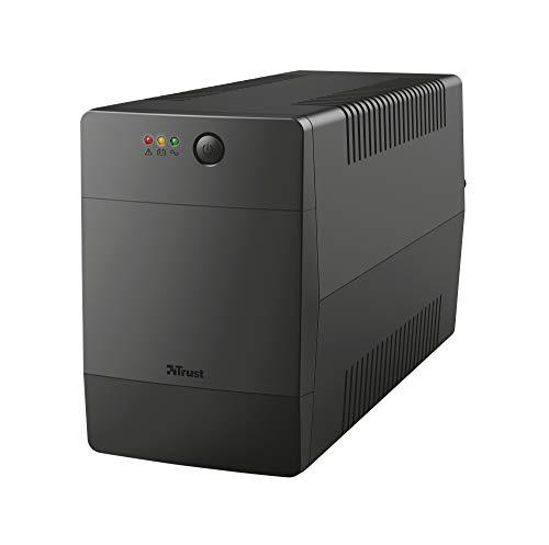 Trust Paxxon Sistema de Alimentación Ininterrumpida (SAI) de 1000 VA, 4 Tomas de Corriente IEC con Batería y Protección contra Sobretensione, Puerto USB y Software para Supervisar el Estado del SAI