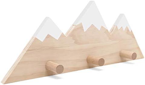 Mountain Peak Wall Hook Wooden Snowy Mountain Kids Nursery Decor Woodland Adventure Themed Entrance product image