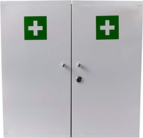 Botiquín de metal con 2 puertas en color blanco para montaje en pared