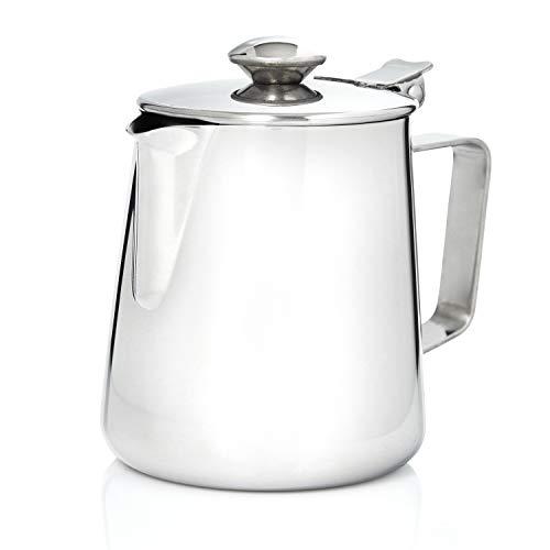 Kerafactum koffiepotje melkkannetje theepot koffiepot kannetje met deksel voor thee of koffie 350 ml van roestvrij staal