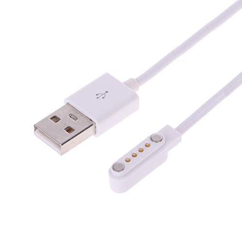 Yiwann - Cable USB para reloj inteligente KW88 KW18 GT88 G3 (4 pines, magnético) blanco
