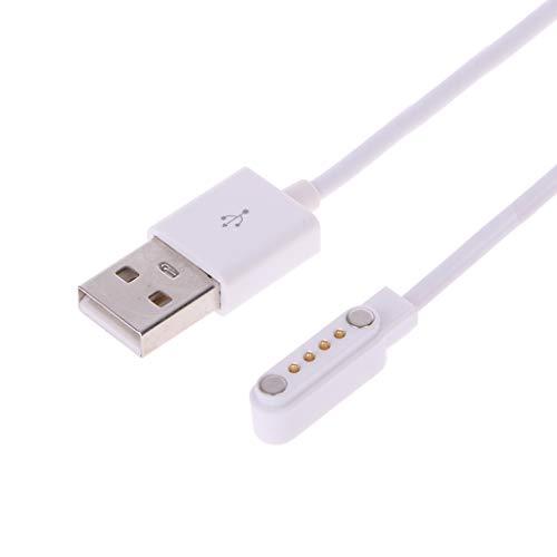 Yiwann - Cavo USB, caricatore per smartwatch KW88, KW18, GT88, G3, USB 4 pin, magnetico, cavi di ricarica bianco