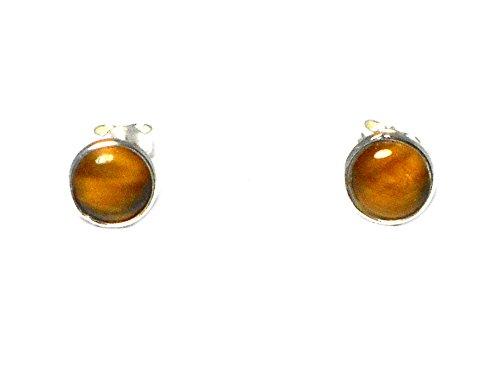 Pendientes redondos de ojo de tigre y plata de ley 925, 8 mm (TEE3009151)