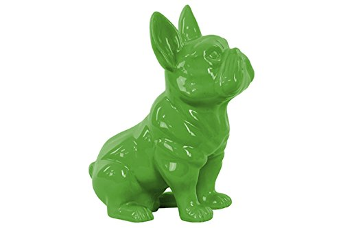 Urban Trends Ceramic Sitting French Bulldog Figurine with Pricked Ears Gloss Finish Green
