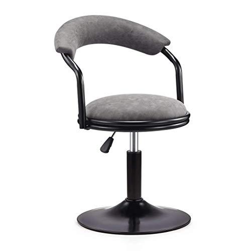 WEHOLY Metal Chair Rotation kann angehoben und abgesenkt Werden Einfache High Stool High Back Front Desk Hocker Cafe Leisure Chair (Farbe: Antikes Leder grau, Größe: Niedrig)