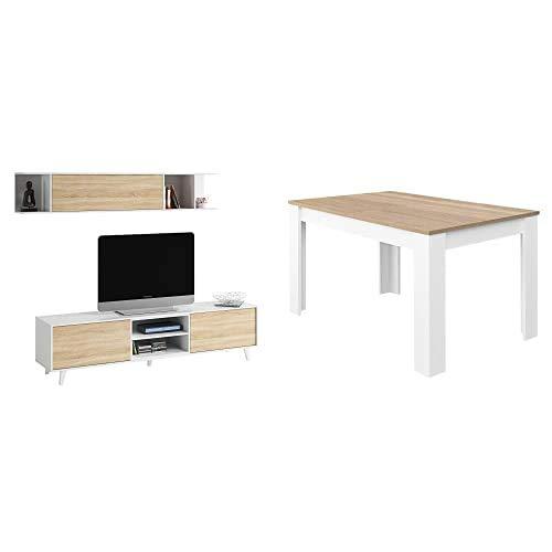 Habitdesign Mueble de salón TV, Roble, 180 cm x 54 cm x 41 cm + Comedor Extensible, Mesa Salón O Cocina, Acabado En Color Blanco Artik Y Roble Canadian, 140 Cm